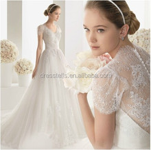 2015 Hot Selling Custom Made A-line V-neck Capped White/Ivory Court Train Cheap Lace Wedding Dress 2015