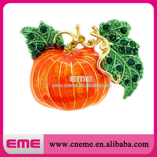 High quality Halloween pimpkin shape rhinestone brooch