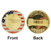 Wholesale Normandie War 70-year Anniversary Gold Plated Coin, American Military 24K Gold Plated Coin Fancy Token Coin