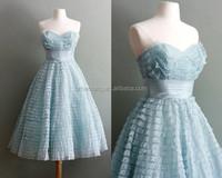 HT202Elegant strapless light sky blue custom made short corset wedding dress