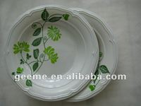 100% Melamine Dinnerware: 10 inch elegant deep round plate decorated with leaves