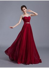 Gorgeous Crystal Beaded Shoulder Sleeveless Bridesmaid Dress DH5008