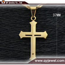 Men Gold Stainless Steel Cross Pendant Necklace Import Jewelry From China