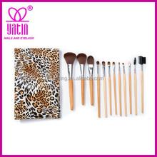 Wholesale best price leopard 12pcs custom logo makeup brushes private label, professional makeup brush set