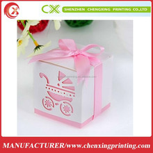 Light Pink Ribbon Wedding Favor Bridal Candy Gift Box Baby Shower Party Cut Out Pram Packing Box
