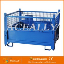 Folding Metal Steel Warehouse Wire Mesh Storage Cage with Pallet