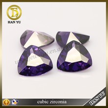 Fat triangle cut violet synthetic cubic zirconia loose gemstone