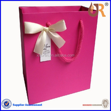 Custom Printed gift Paper Bag with Ribbon bow tie