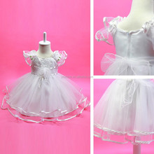 2015 Latest New Design White Ruffle Girl Dress China Garment Factory Direct Price