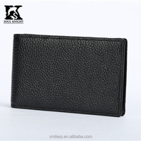 SK-7017 Pure black leather card case for men factory price