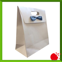 Gift packaging paper bag with ribbon tie