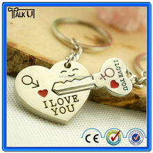2015 wholesale cheap lover metal lover Keychain for valentine's day, mini silver color heart shaped couple keyring