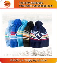 Kids winter jacquard knit beanie caps cute hat with pom pom