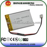 523450 3.7v 1000mah li-polymer battery