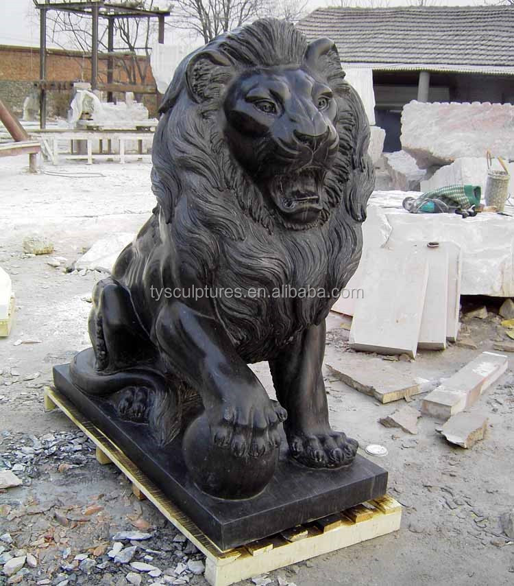 Pair of Natural Beige Marble Walking Lion Statues for Sale