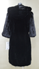 elbow-length High Quality Mink Fur Sleeve with Hat and Rex Rabbit Woman Overcoat
