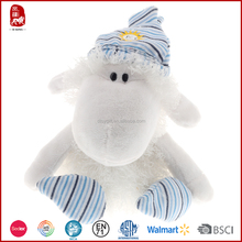 2015 hot sale customize plush white lamb with hat