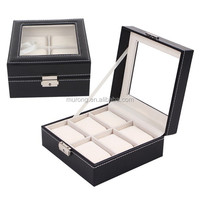 In stock wholesale pu leather cover MDF watch case of 6 slots watches