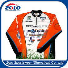 Cheap Custom dye Sublimation printing fishing shirts long sleeve