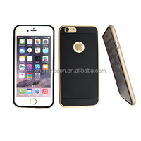 2015 hot sale metal frame soft resin TPU back cover phone case cover for iphone 5 5s 6 and 6plus
