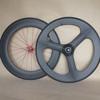 chinese carbon wheels for road bike front tri spoke wheel rear R88C 88mm clincher wheel 3K matt