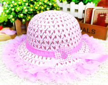 Hot sale 2- layer lace straw hat for baby, sun hat for child, outdoor beach hat for baby