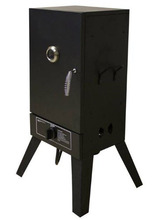 """26"""" Vertical Smoker box in LP Gas with Chromed Iron Wire Sausage Hanger and 8,000 BTUs for BBQ Barbecue cooking"""