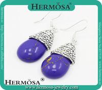 Hermosa Jewelry HOT SALE Trendy Purple Blue Jade 925 Sterling Silver Drop Earrings Woman Jewelry Fashion Design