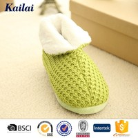 attractive green slip on women cashmere Casual Shoes