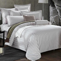 Top quality cotton plain/stripe/jacquard bedding sets hotel supply