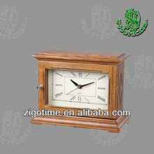 Wood antique brass table clock