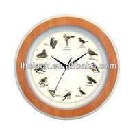 round plastic bird sound wall clock wtih 12 music hourly