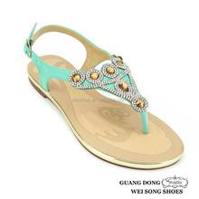 thong flat green TPR sole durable rhinestone sandals woman shoes 2014