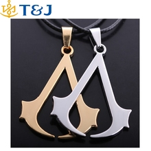 S>>> 2015Assassins Creed Fine jewelry Rope Chain Blade Gold Silver Plated Pendant Necklace/