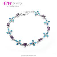 New Fashion 925 Silver Cz Tanzanite Wholesale Cross Beads Health Bracelet