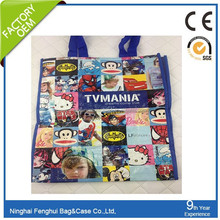 2015hot sell full print lamination PP woven bag/ recycle shopping bag