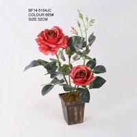 Hot sale 32 CM 3 Flower Heads Red Artificial Rose Flower