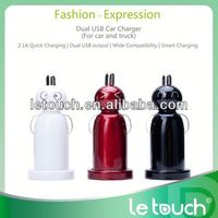hot sale colorful 2.1A dual usb 9v 2a car charger for mobile phone
