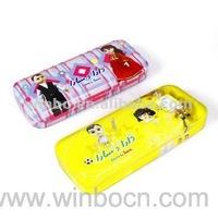 Two-layer cartoon kids students tin pencil case box
