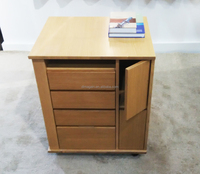 Deskside Wooden Filing Cabinet with 4 Drawers and 2 doors