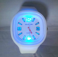 Factory wholesales fashion candy color silicone jelly watch with led light