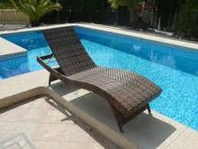 Beach Rattan Chaise Lounge / Swimming Pool Sun Lounger / Beach Chair