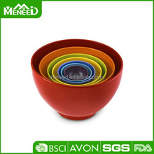 Cheap houseware items, colourful round 7pcs melamine nesting bowl set