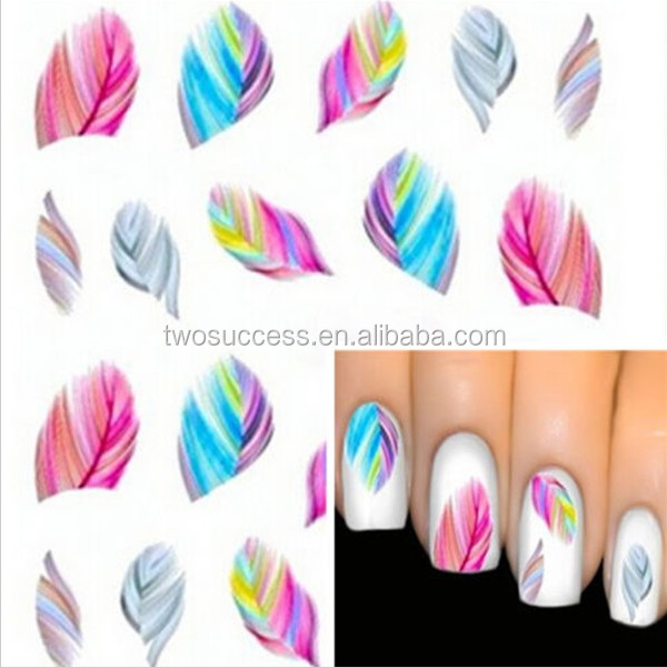 new feather nail sticker (8)