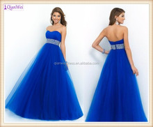 2015 new China prom dresses manufacturer sweetheart beaded empire waist tulle princess style ball gown royal blue prom dresses