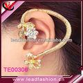 ouro punk ear cuff urdidura flor manguito orelha piercing ear cuff