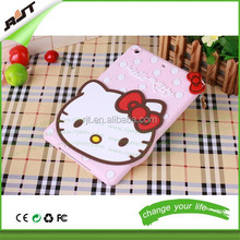 Hottest 3D Cute Cartoon Hello kitty Silicon Silicone Back Cover Case For iPad 2 3 4