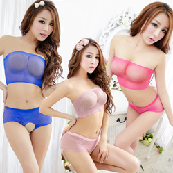 Tube style red mature japanese women modal babydall sexy lingerie with Open panties