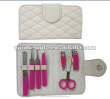 Cheap durable 7pcs silicon cover manicure set in PU pouch