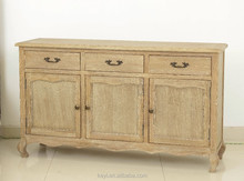 French style 3 doors cabinet Chinese antique solid wood sideboard cabinet(DT-1046-OAK)